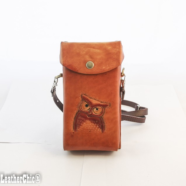 Hand Carved Cross-body Bag Owl HB 16.3