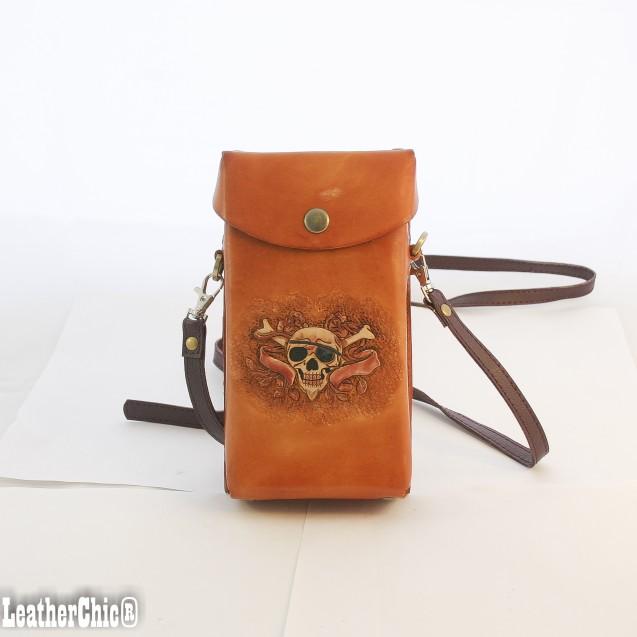 Hand Carved Cross-body Bag Sugar Skull HB 30