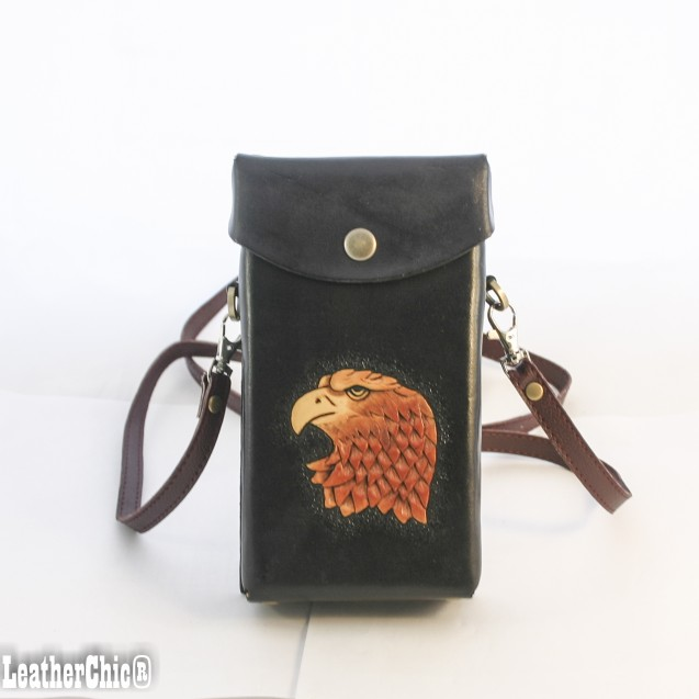 Hand Carved Cross-body Bag Eagle HB 48