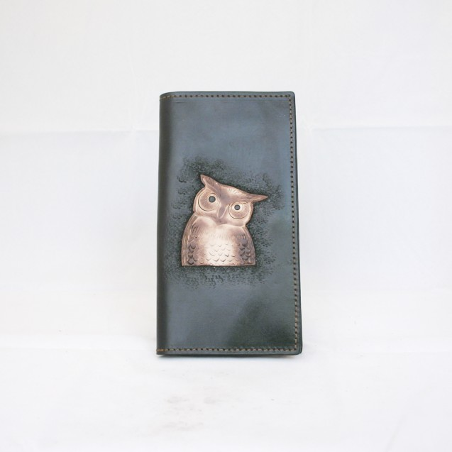 Hand Carved Long Wallet Owl  WL 016